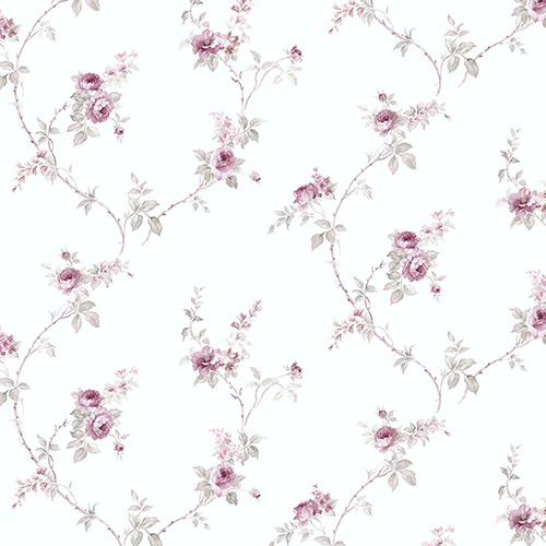 White Wedding Trail Pink and Grey Floral Wallpaper