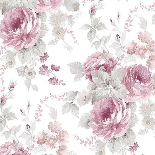 La Rosa Pink and Grey Floral Wallpaper