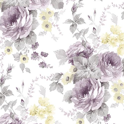 La Rosa Grey, Purple and Yellow Floral Wallpaper
