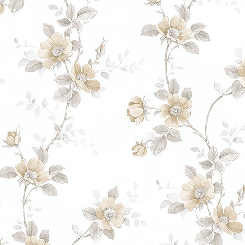 Poppy Beige and Grey Floral Wallpaper