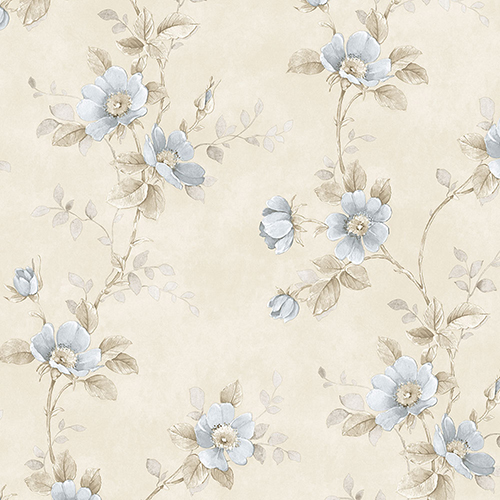 Norwall Wallcoverings Poppy Blue and Beige Floral Wallpaper