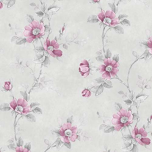 Poppy Pink and Grey Floral Wallpaper - SAMPLE SWATCH ONLY