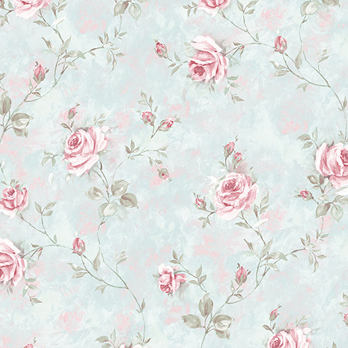 Norwall Wallcoverings Painted Rose Trail Turquoise and Pink Wallpaper