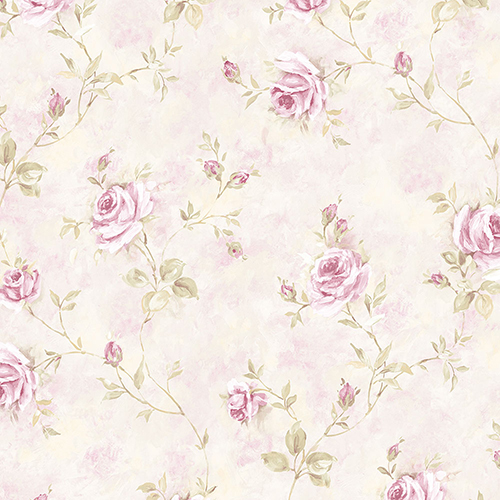 Norwall Wallcoverings Painted Rose Trail Pink and Green Wallpaper - SAMPLE SWATCH ONLY