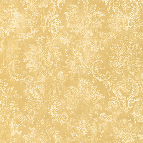Canvas Damask Yellow and Cream Wallpaper