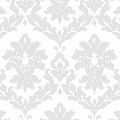 Plaza Damask Grey and White Wallpaper - SAMPLE SWATCH ONLY