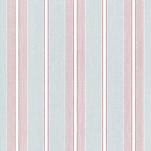 Cushion Stripe Aqua and Red Wallpaper