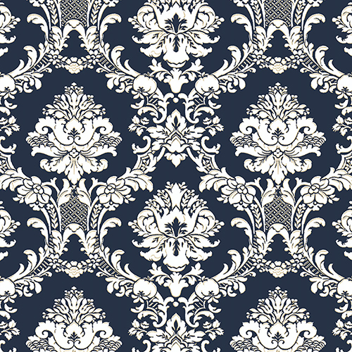 Norwall Wallcoverings Document Damask Navy, White and Metallic Gold Wallpaper - SAMPLE SWATCH ONLY