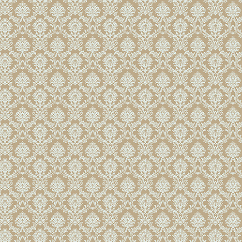 Aqua and Metallic Gold Mini Damask Wallpaper