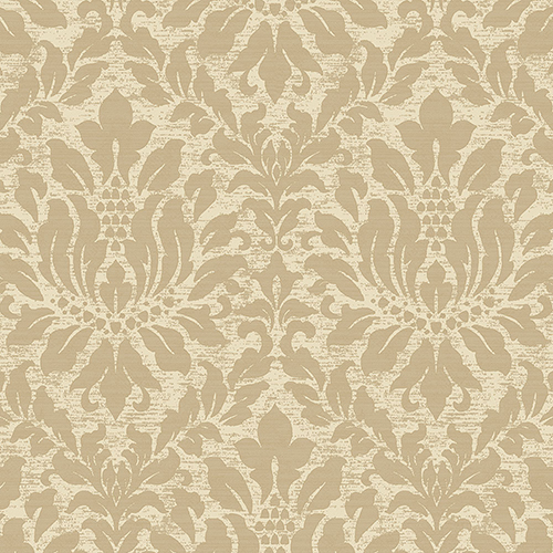 Norwall Wallcoverings Stitched Damask Cream And Metallic Gold Wallpaper