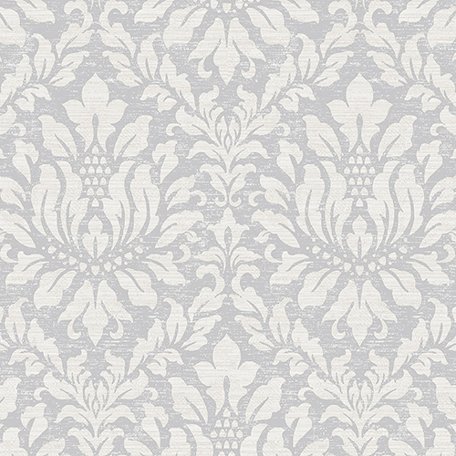 Stitched Damask Grey, Beige and Metallic Silver Wallpaper - SAMPLE SWATCH ONLY