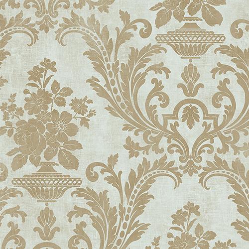 Sari Light Green and Metallic Gold Texture Wallpaper