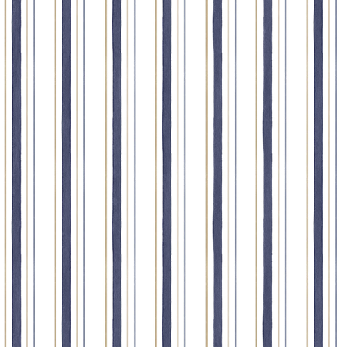 Navy, Taupe and White Stripe Wallpaper - SAMPLE SWATCH ONLY