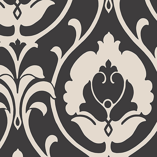 Italian Damask Black and Taupe Wallpaper - SAMPLE SWATCH ONLY