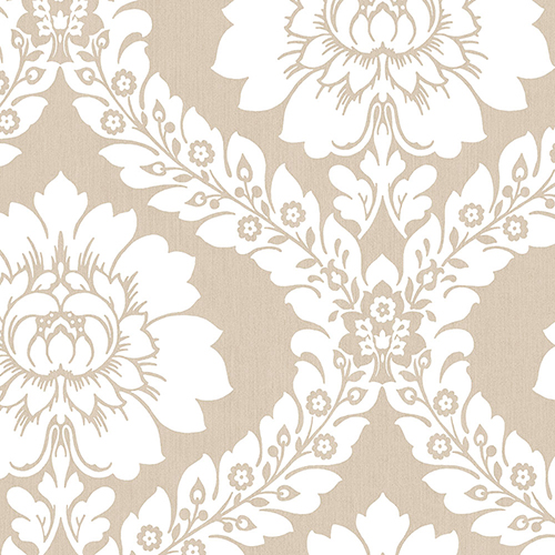 Norwall Wallcoverings Daisy Damask Taupe Wallpaper - SAMPLE SWATCH ONLY