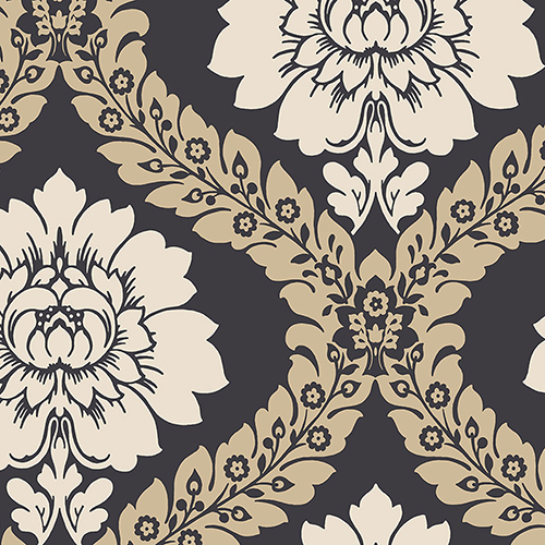 Daisy Damask Black and Beige Wallpaper - SAMPLE SWATCH ONLY