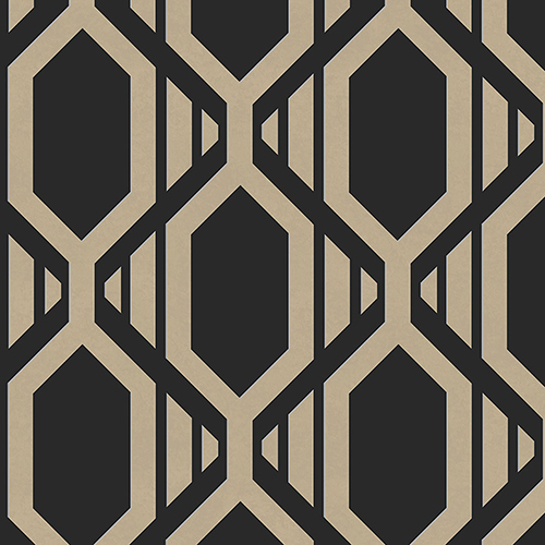 Gatsby Black and Metallic Gold Wallpaper