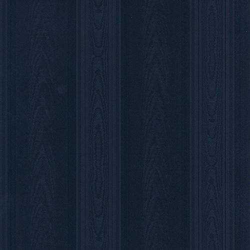 Medium Moire Stripe Navy Blue Wallpaper