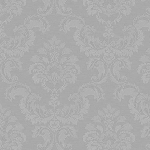 Damask Emboss Metallic Silver Wallpaper