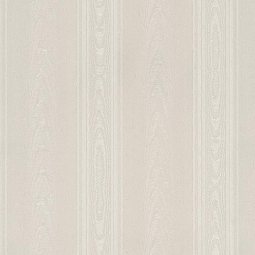 Norwall Wallcoverings Medium Moiré Stripe Light Cream and Beige Wallpaper - SAMPLE SWATCH ONLY