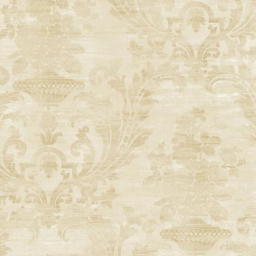 Sari Damask Pearl and Beige Wallpaper