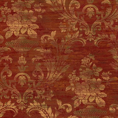 Sari Damask Metallic Gold and Red Wallpaper