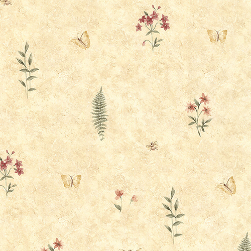 Summer Botanical Sidewall Ochre and Warm Red Wallpaper