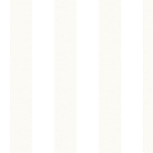 Tent Stripe Pearl and White Wallpaper