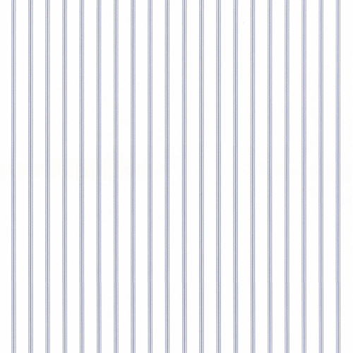 Ticking Stripe Light Blue and White Wallpaper