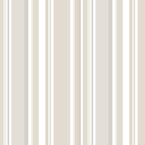 Step Stripe Light Beige and White Wallpaper