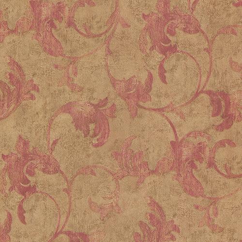 Veneto Metallic Gold and Red Leaf Scroll Wallpaper
