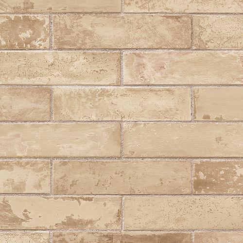 Cream and Camel Swiss Brick Wallpaper