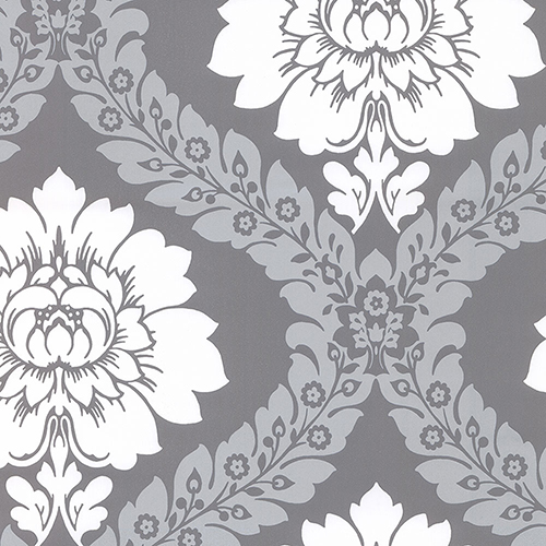 Daisy Damask Metallic Silver and Grey Wallpaper