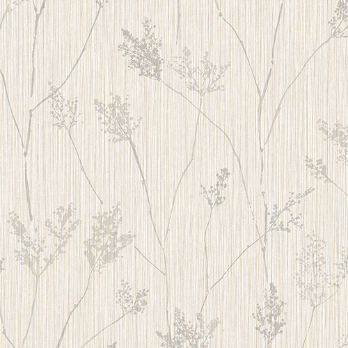 Norwall Wallcoverings Cow Parsley Cream and Grey Wallpaper - SAMPLE SWATCH ONLY