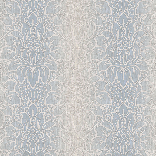 Venetian Damask Blue and Beige Wallpaper - SAMPLE SWATCH ONLY