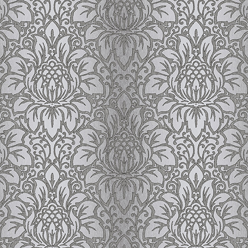 Norwall Wallcoverings Venetian Damask Black, Grey and Metallic Silver Wallpaper - SAMPLE SWATCH ONLY