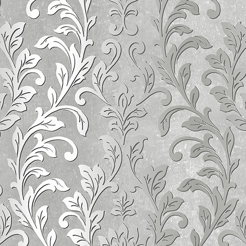 Silver Leaf Damask Black and Grey Wallpaper - SAMPLE SWATCH ONLY
