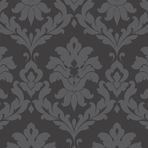Norwall Wallcoverings Plaza Damask Black Wallpaper - SAMPLE SWATCH ONLY