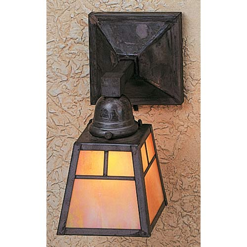 Arroyo Craftsman A-Line Gold White Iridescent T-Bar One-Light Sconce