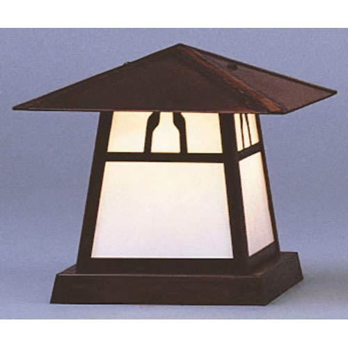 Arroyo Craftsman Carmel Small White Opalescent Bungalow Outdoor Pier Mount