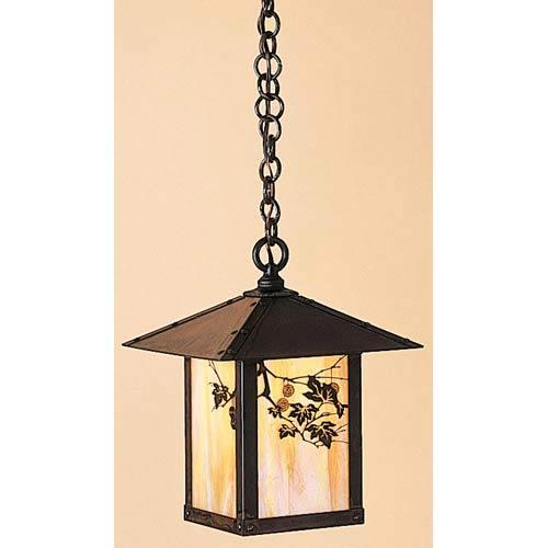 Arroyo Craftsman Evergreen Small Gold White Iridescent Sycamore Outdoor Pendant