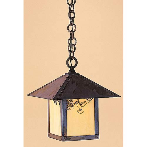 Arroyo Craftsman Evergreen Small Tan Hummingbird Outdoor Pendant