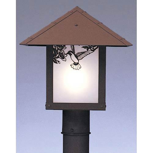 Arroyo Craftsman Evergreen Medium Frosted Hummingbird Outdoor Post Mount