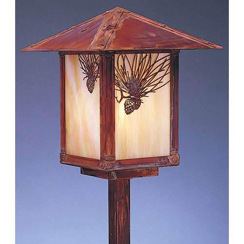 Arroyo Craftsman Evergreen Small Gold White Iridescent Pine Needle Outdoor Stem Mount