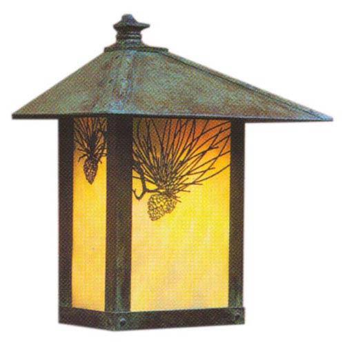Arroyo Craftsman Evergreen Gold White Iridescent Pine Needle Outdoor Wall Mount
