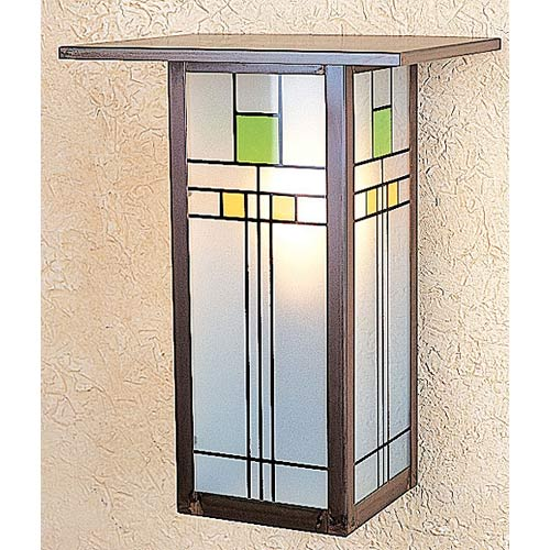 Arroyo Craftsman Franklin Yellow and Green Long Flush Wall Mount