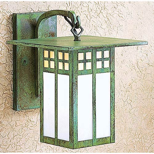 Arroyo Craftsman Glasgow Small Gold and White Opalescent Long Outdoor Wall Mount