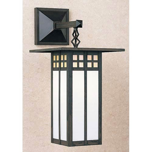Arroyo Craftsman Glasgow Gold and White Opalescent Long Outdoor Wall Mount