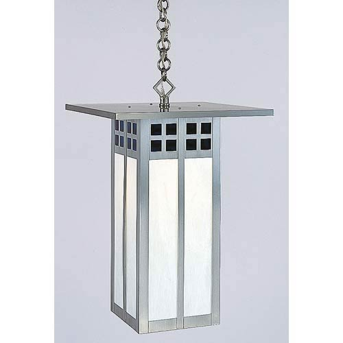 Arroyo Craftsman Glasgow Large Blue and White Opalescent Long Outdoor Pendant