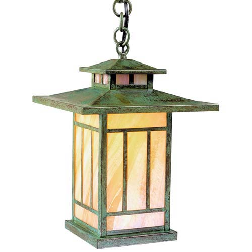 Kennebec Small Gold White Iridescent Outdoor Pendant